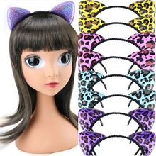 Glitter sequined leopard hairband cartoon cat animal ear design headband girls cute headdress women party hot hair accessories
