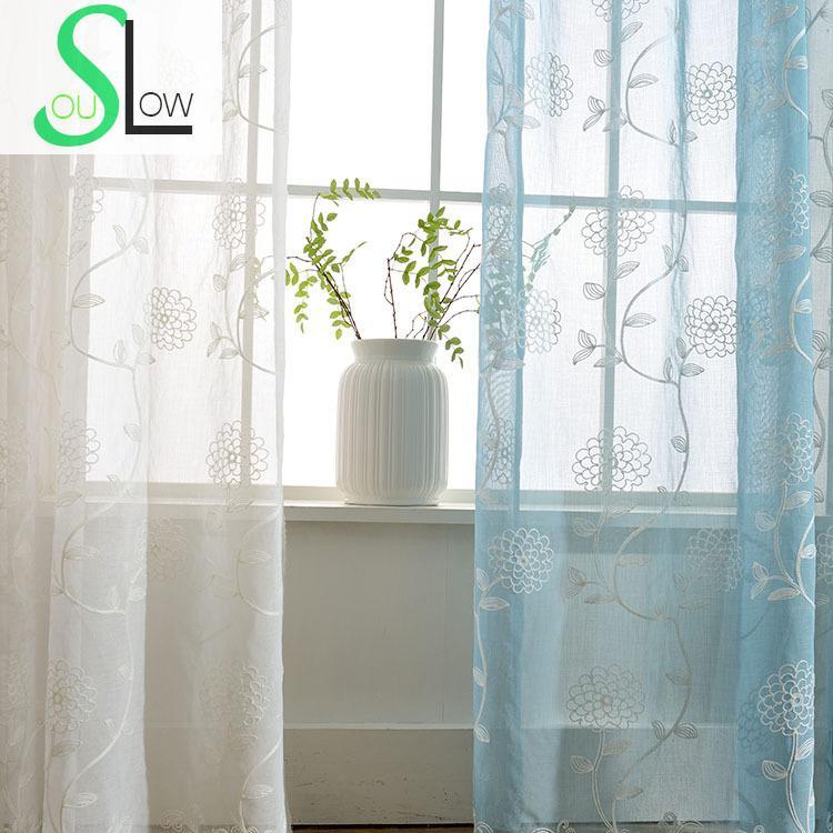 Langsam Seele Weißes Pulver Blau Vorhänge 3d Französisch Fenster Gestickt  Pastoralen Floral Tüll Für Wohnzimmer Küche