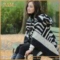 Poncho blanco y Negro estriado de cachemira Bufanda Bufanda de moda gran tamaño de invierno chal Mujeres bufanda caliente