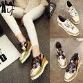 2016 НОВЫЙ женская обувь сдобы толстым дном CreepersPlatform Обувь Квартир Женщин Зашнуровать Лианы женщин случайных ShoesALF162