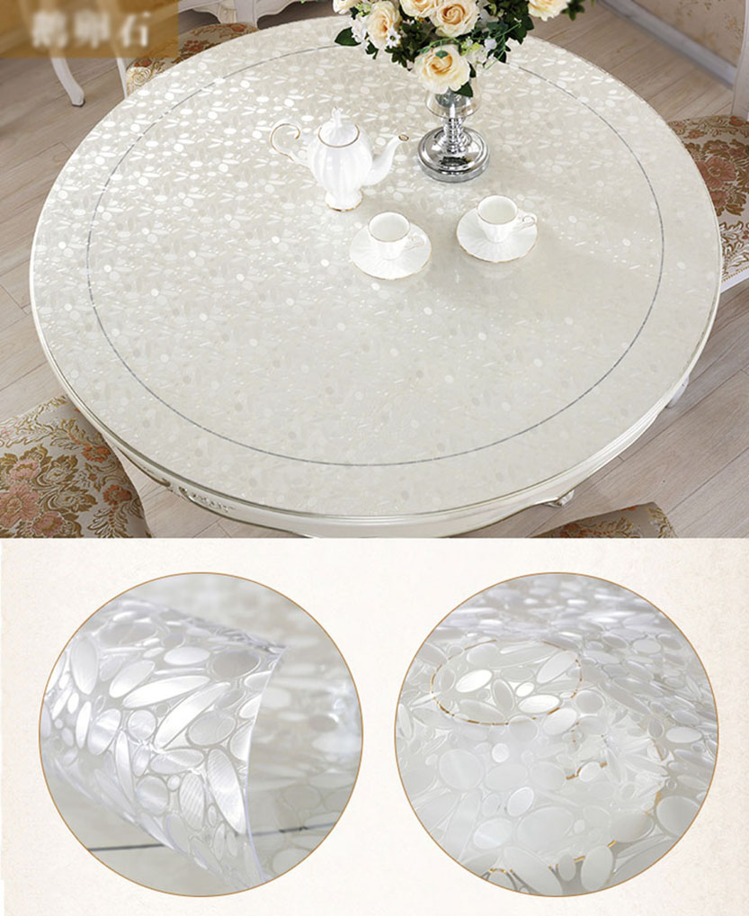 YO HOOM Kitchen PVC Waterproof Tablecloth Round Thickn1 2MM Table Cloth Table Cover Oil Soft Glass Color Optional in Tablecloths from Home Garden