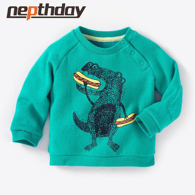 Nueva Impresión Preciosa del Dinosaurio Del Bebé Infantil Chicos Cartoon Tops Camisetas Otoño de Algodón Niños Ropa Edad 2-7Y Envío Libre 15-679