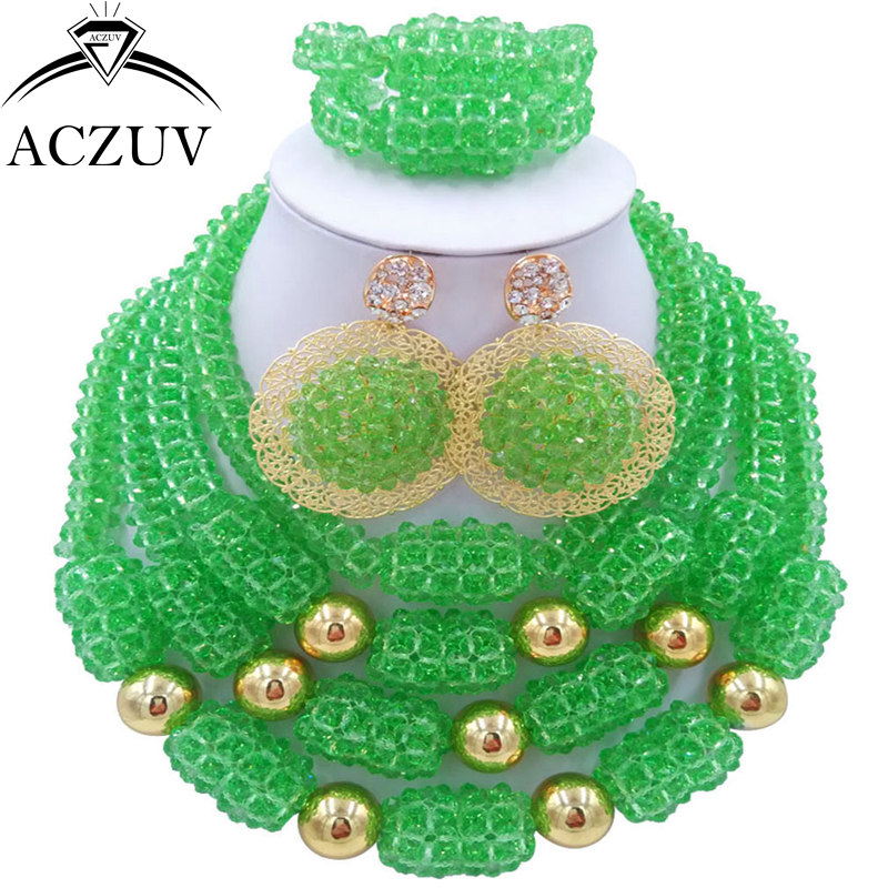 ACZUV Latest Light Green Nigerian Wedding African Beads Jewelry Set Crystal Necklace and Earrings Bracelet D4R027 classical malachite green round shell simulated pearl abacus crystal 7 rows necklace earrings women ceremony jewelry set b1303