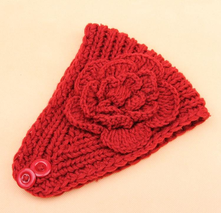 Crochet Headband Women\'s Knit Hair Band Flower Headband Winter Ear ...