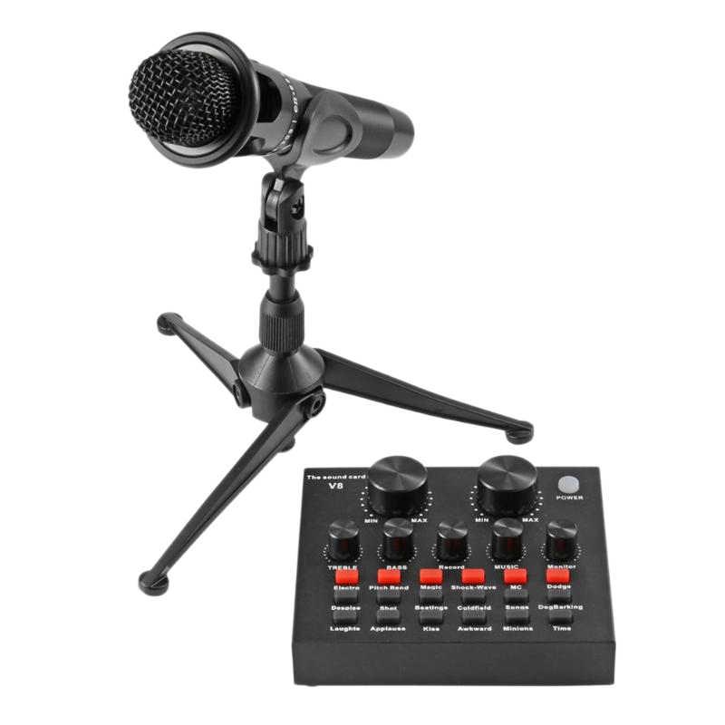 V8 オーディオの Usb ヘッドセットマイクイヤホン Webcast ストリーマライブサウンドカード用コンピュータ Pc ライブサウンドと Mcrophone