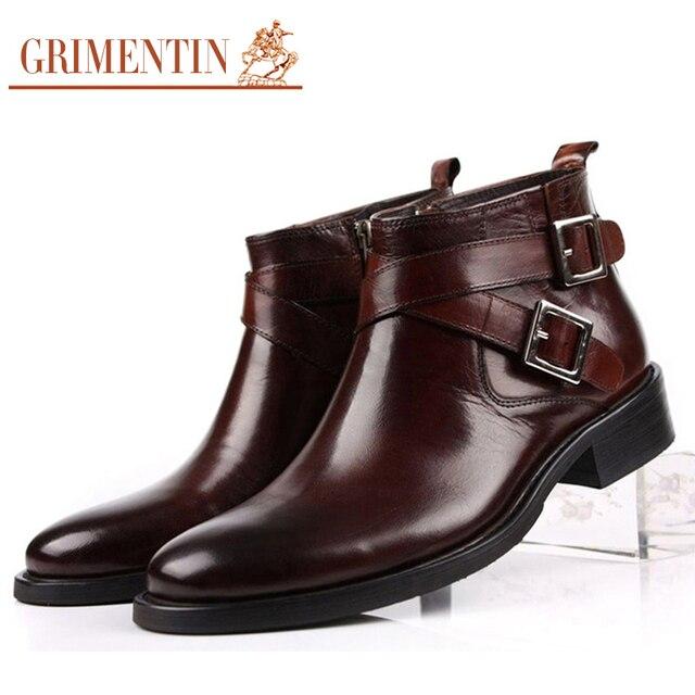 GRIMENTIN erkekler çizmeler hakiki deri çift toka siyah kahverengi erkek ayak bileği çizmeler ayakkabı