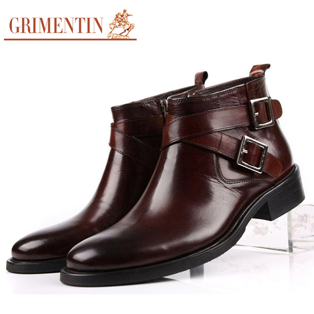 GRIMENTIN men boots genuine leather double buckle black brown male ankle boots shoes