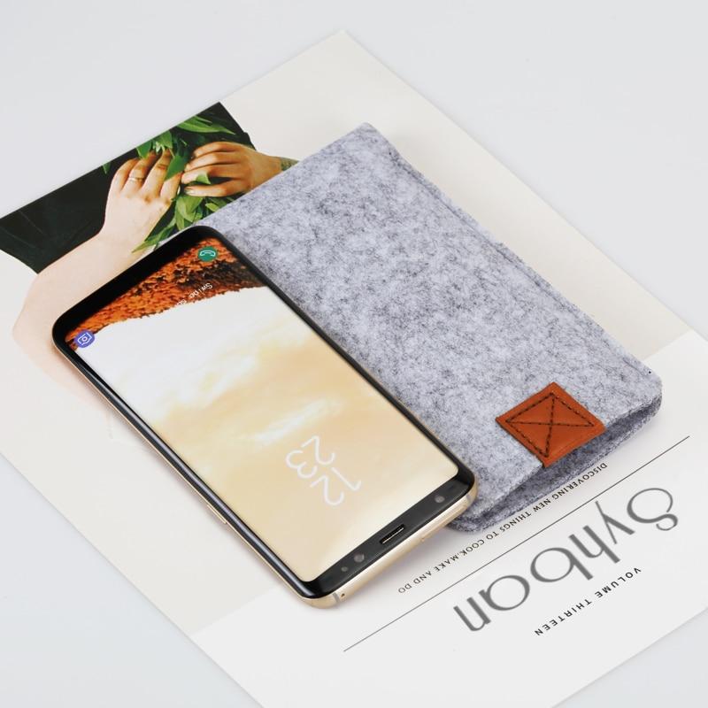 imágenes para Fieltro de lana Cartera bolso del teléfono Móvil para samsung galaxy S8 nota7 Note6 note5 S8Plus párr galaxy nota4 3 bolsas de teléfono casos cubierta