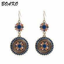 BOAKO Vintage Bohemian Dangle Earrings Ethnic Flower Oil Drop Hanging for Women Fashion Jewelry Long Oorbellen