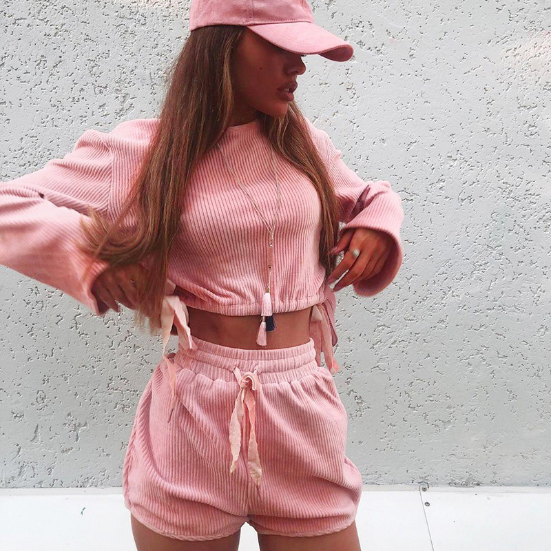 Fitshinling Fashion Autumn Women Two Piece Outfits Drawstring Slim Pink Matching Sets Slim Pink Sweatshirts Shorts 2 Piece Set in Women 39 s Sets from Women 39 s Clothing