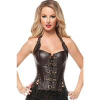 Steampunk Corset Sexy Black Brown Faux Leather Buckle Halter Overbust Corset Top Waist Corsetto Burlesque Corsets And Bustiers