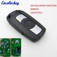 Cocolockey 3 Button Smart Keyless Enter Go Fuction 868MHZ Fit for BMW E90 Remote Key CAS3 CAS3+ System NO LOGO