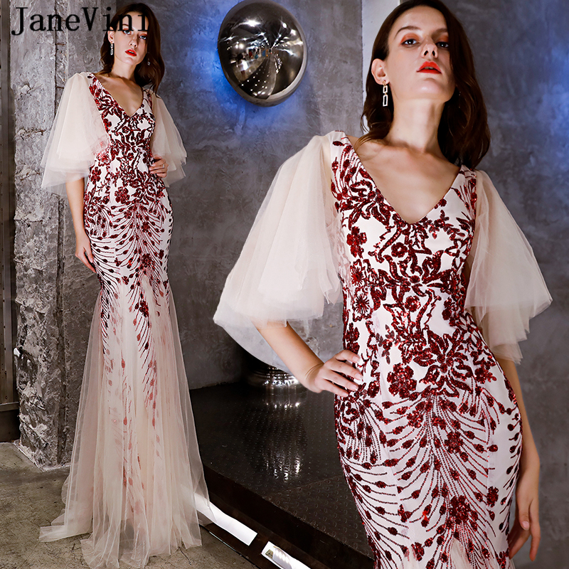 JaneVini Sparkly Red Sequined Long Bridesmaid Dresses African Sexy Deep V  Neck Half Sleeves Backless Mermaid Formal Prom Gowns 68284e3595eb