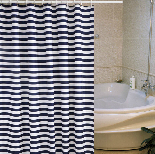 Navy Blue And White Striped Shower Curtain Standard