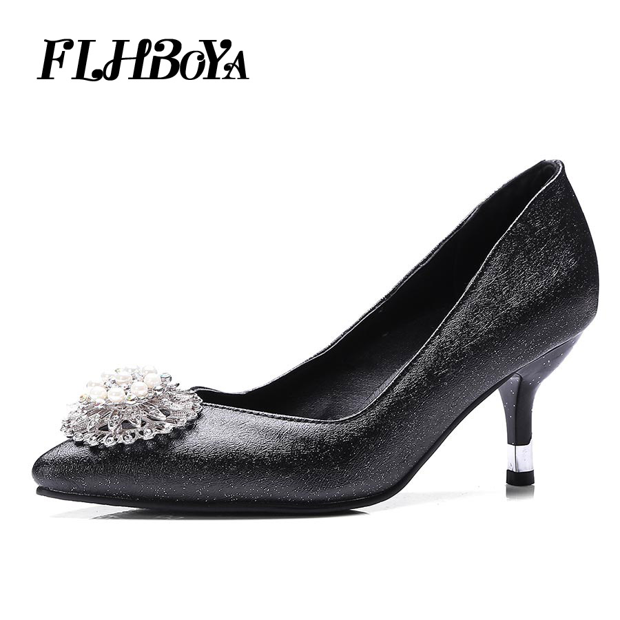 FLHBOYA Rhinestone Pointed Pumps Women Fashion High Heels Court Heeled Crystal Lady OL Female Party Bling Wedding Shoes Purple