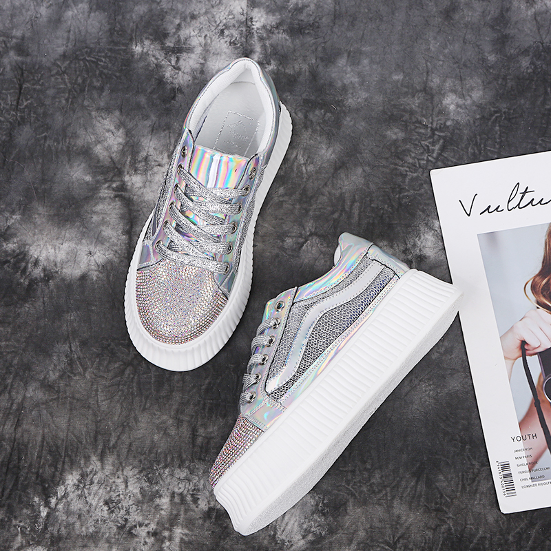 2aed9fa726 RASMEUP Women Glitter Flat Platform Sneakers 2019 Fashion Lace Up Women's  Chunky Shoes Breath Lady Trainers Woman Bling Footwear