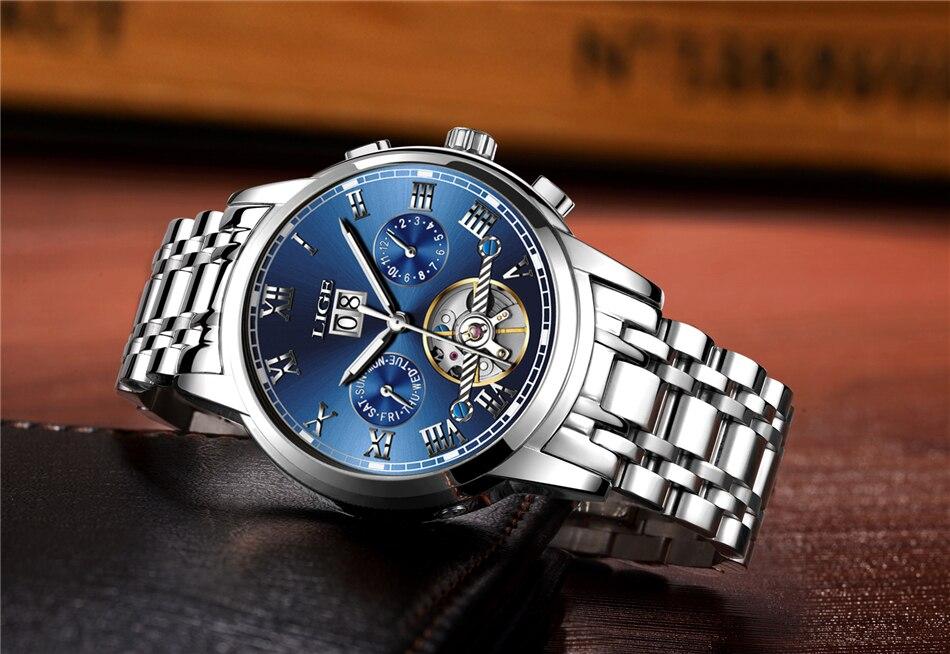 HTB16XQ8p7KWBuNjy1zjq6AOypXae LIGE Mens Watches Top Luxury Brand Automatic Mechanical Watch Men Full Steel Business Waterproof Sport Watches Relogio Masculino
