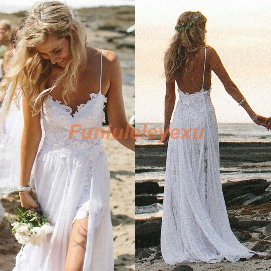 Sexy new spaghetti backless beach wedding dresses summer for Free wedding dresses low income