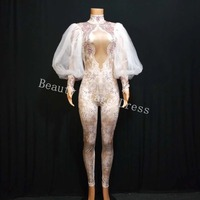 Colored Rhinestones One Piece Bodysuit pearl Elasticlong sleeved adult stage costume Jumpsuit Stage Outfit Singer sexy clothing
