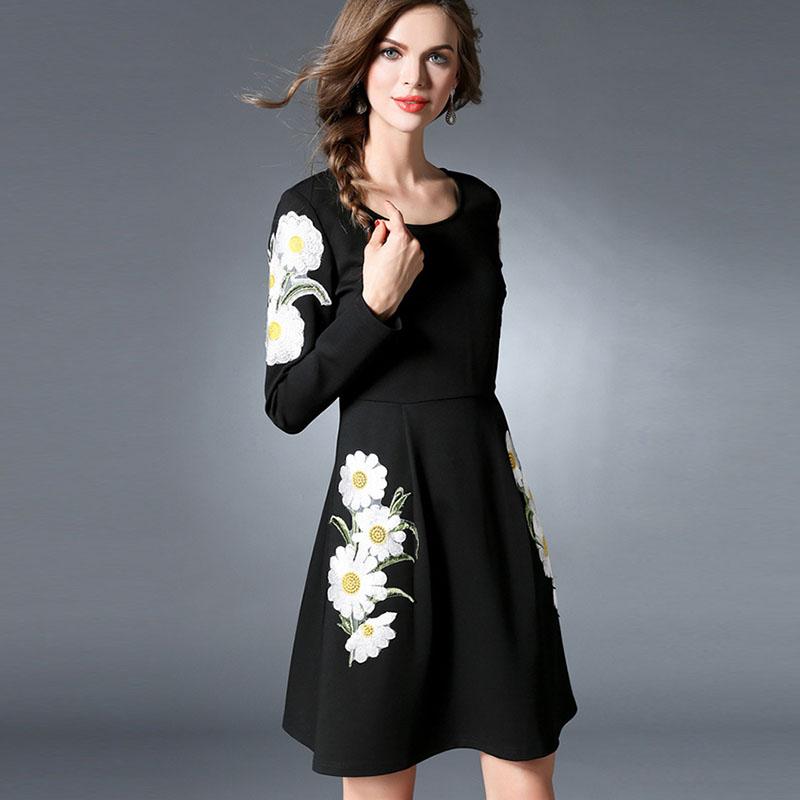54c5e24e57 Long Sleeve Black Pleated Knit Shift Dress Plus Size Women Clothing ...
