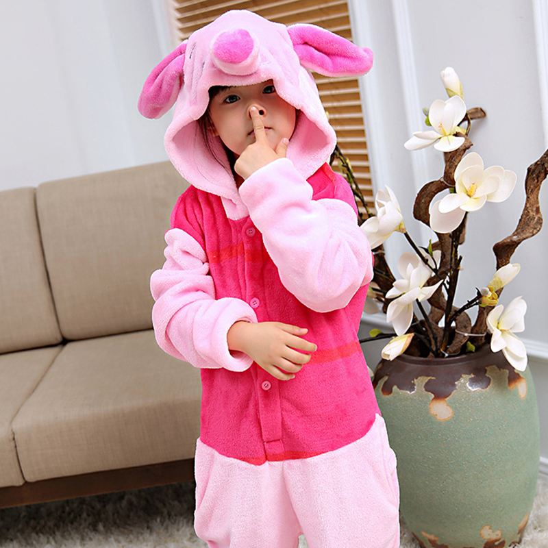 2018 Unisex Kids Piglet Pig Overalls Flannel Pajamas Children Animal Onesie Cosplay Costume Sleepwear Pijama Hooded Pajama Sets