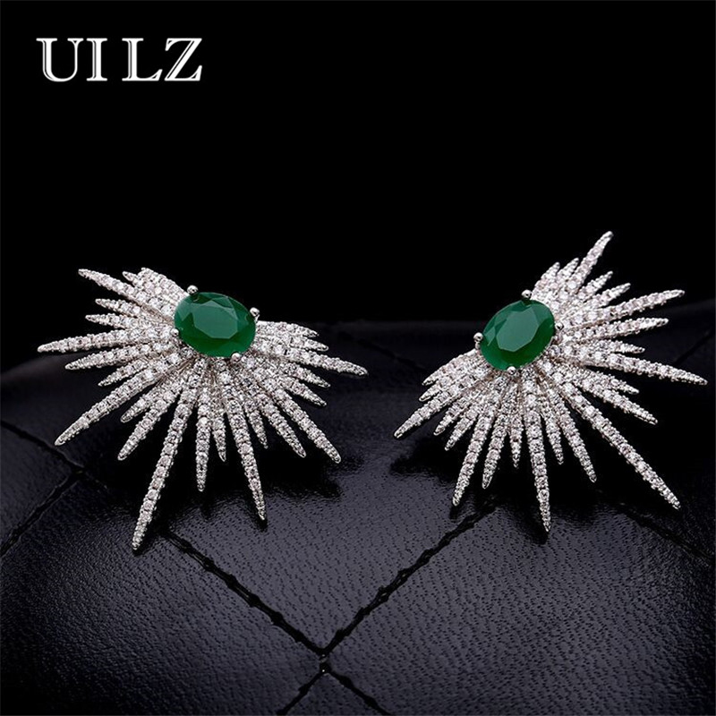 цена на UILZ Punk Style Spike Shape Earring White And Green Stone Pave Sparkly Star Galaxy Stud Earrings Jewelry For Women UE628