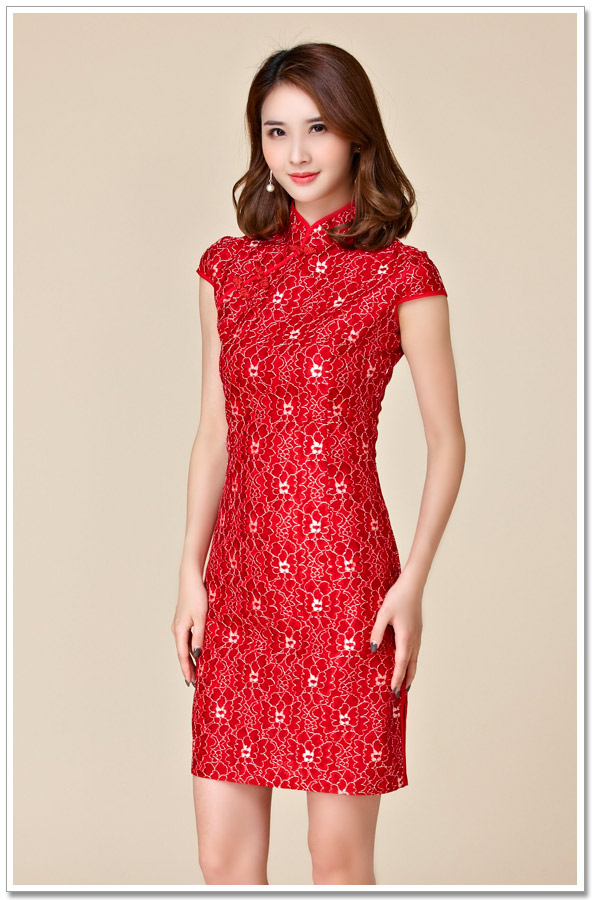 M~3XL Plus Size NEW Chinese Ladies Vintage Elegant Lace Sexy Short Red  Cheongsam Qipao Party Women Big Tang Suit Dress Vestidos-in Cheongsams from  Novelty ... 5a671d0e88d2