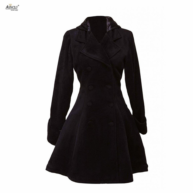 Ainclu High Quality Black Classic Defined Waist Double Breasted Wool Women's A-line Lolita Overcoat For Casual/Party/Halloween