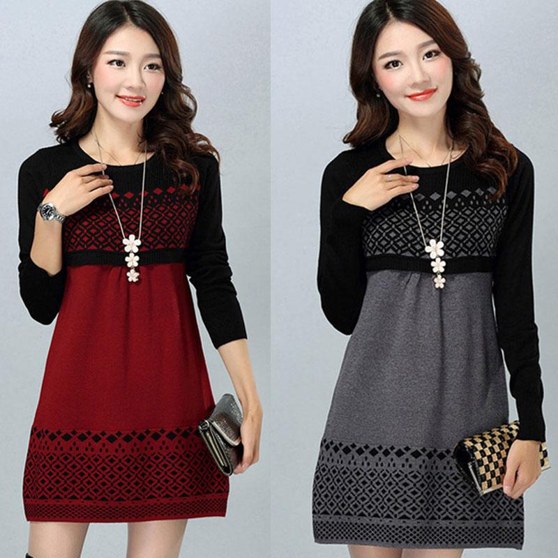 Women Autumn Winter Dress New 2016 Womens Cotton Knitted Plus Size Long-sleeve Casual One-piece Warm Cotton Sweater Dress S-3XL