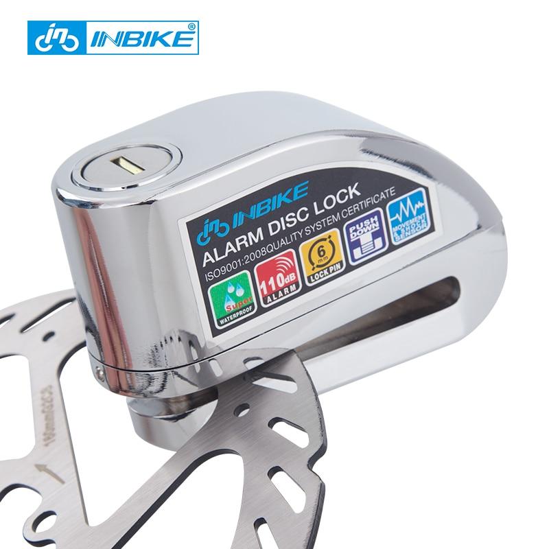INBIKE велосипед сигнализации диск замок противоугонной тормозной диск Охранной Сигнализации электронных блокировки 6 мм Булавки для мотоци