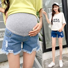 ff9ab6a96aea1 105# Ripped Hole Denim Hot Maternity Shorts Elastic Waist Belly Short Jeans  Clothes for Pregnant