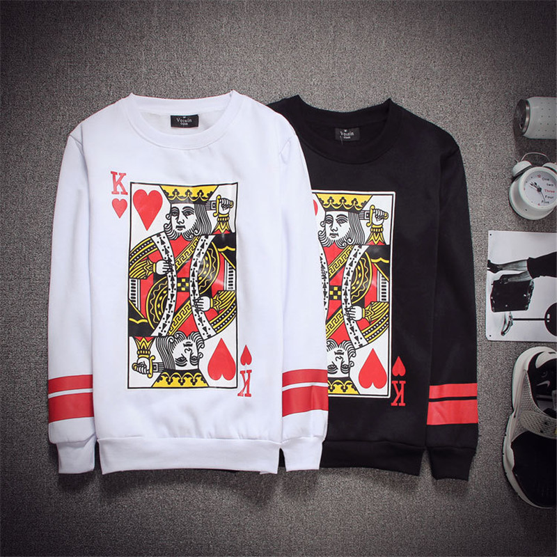 2015 New Harajuku Red Heart King Sweatshirt Cards Printed 3d