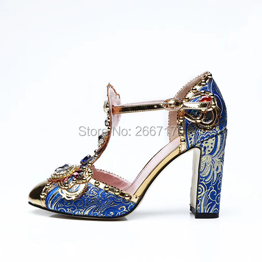 8b72c2d09b Aliexpress.com : Buy Shooegle Designer Shoes Women Luxury 2018 Runway Pumps  Gemstone Pearled Summer Sandals T Strap Chunky Heels Crystal Blue Sandles  ...