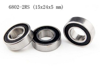 [10 PCS] 6802-2RS (15x24x5 mm) Metal Rubber Sealed Ball Bearing (Black) 6802RS image