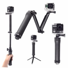 Foldable Monopod Self Stick Foldable Three Method Handheld Monopod for Gopro Hero four Three Three+ SJ4000 SJ5000 Xiaomi Yi