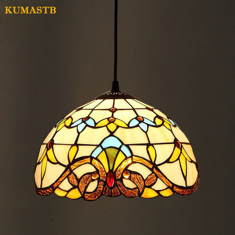 European Style Baroque Stained Glass Lustre Pendant Lights Bar Cafe Balcony Corridor Lampara Parlor Dining Room Light Dia25cmEuropean Style Baroque Stained Glass Lustre Pendant Lights Bar Cafe Balcony Corridor Lampara Parlor Dining Room Light Dia25cm