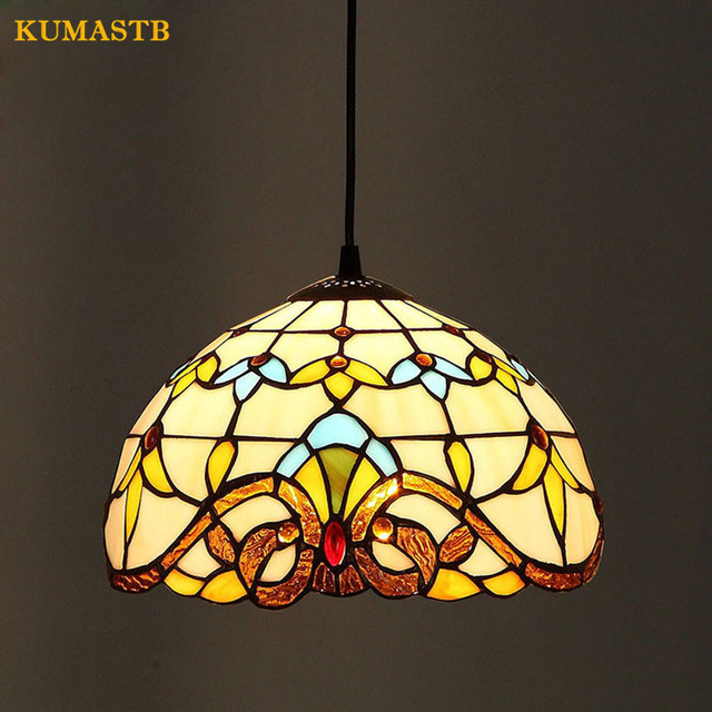 European Style Baroque Stained Glass Lustre Pendant Lights Bar Cafe Balcony Corridor Lampara Parlor Dining Room Light Dia25cm