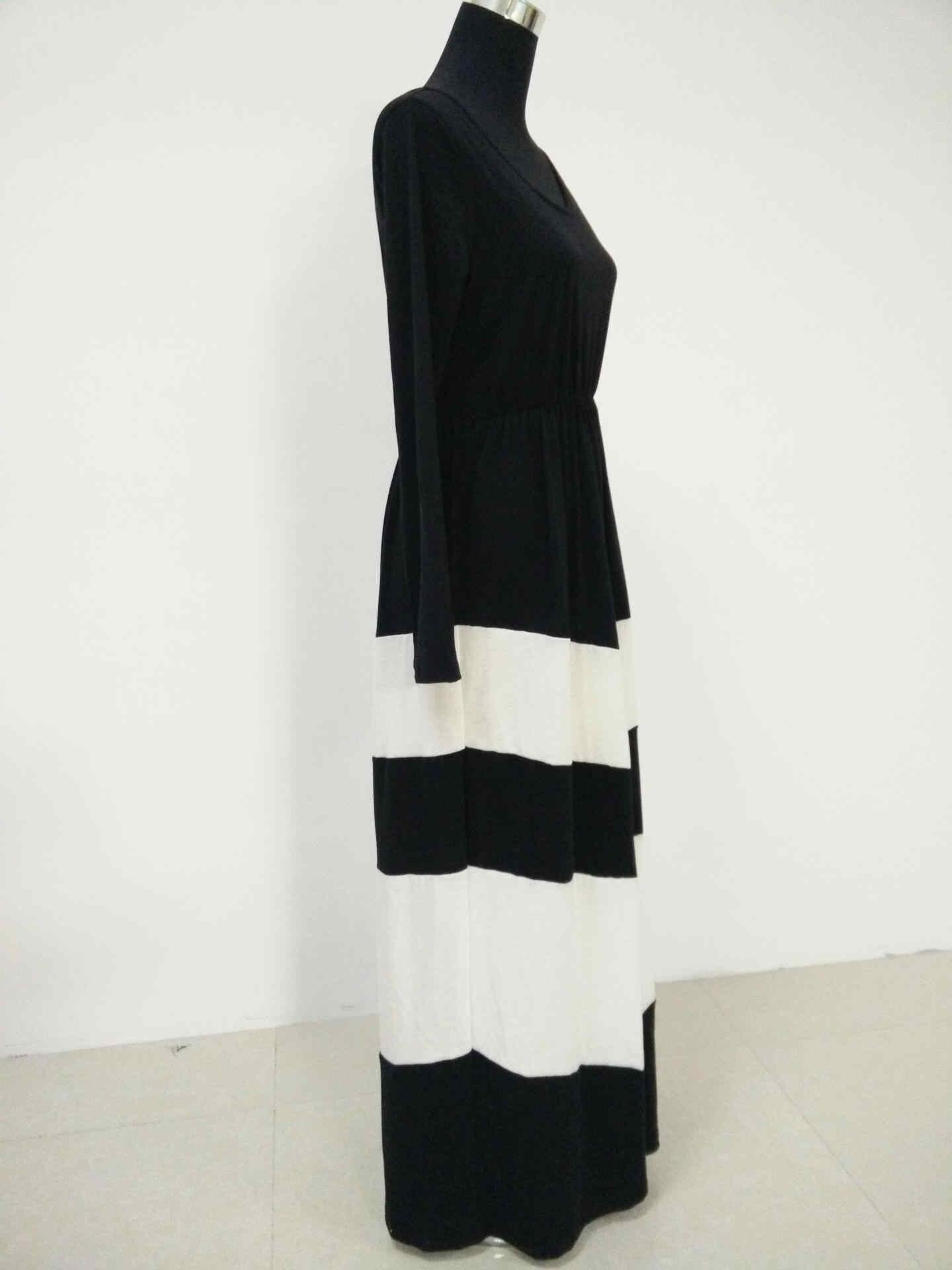 2017 г., платье для мамы и дочки весенне-осеннее черно-белое платье с длинными рукавами пляжные платья для девушек, длинное платье для мамы и ребенка