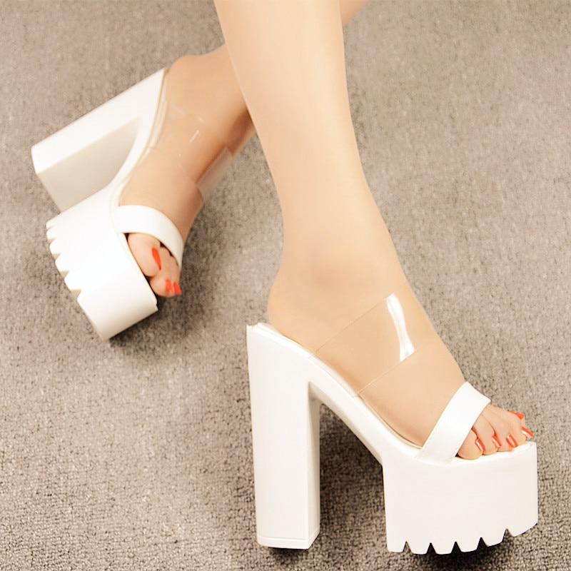 Прозрачные пикантные римские сандалии летние женские босоножки на высоком каблуке 14 см с открытым носком