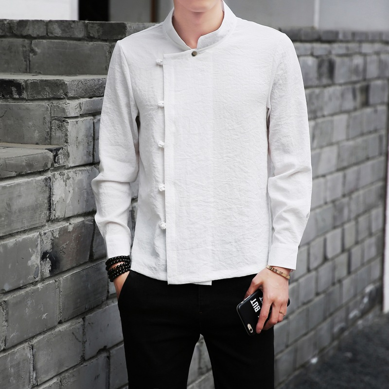 Men's Clothing Casual Shirts Spring Toys Gray Mens Linen Shirt Top Chinese Classic Kung Fu Clothing Short-sleeve Vintage Tang Suit Free Shipping S To Xxxl More Discounts Surprises