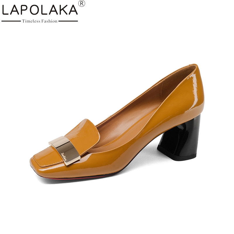 LAPOLAKA Brand New Genuine Leather Square Toe Square High Heels slip-on Shoes Woman Fashion Spring Pumps Big Size 33-43
