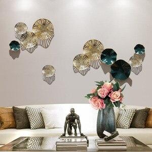 Современные кованые цветы лотоса, Висячие металлические бабочки, украшения для украшения дома, гостиной, настенный фон для росписи