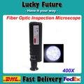 Handheld 400X fibra óptica inspeção microscópio óptico com 1.25 e 2.5 mm adaptadores