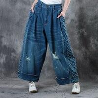Jessica'nın Mağaza Bahar Yaz Kadın Bağbozumu Kısa Rahat Gevşek Tüm Maç Cepler Delik Retro Bitirme Denim Geniş Bacak Pantolon