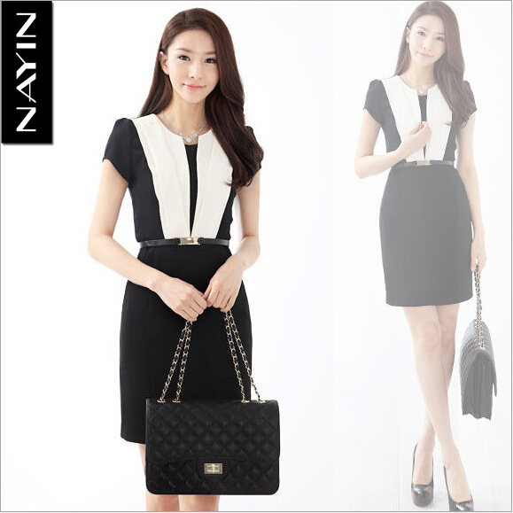 Brand Korean Elegant Black And White Patchwork Dress Slim Work Office Lady Casual Summer Women Plus Size S 5xl With Belt In Dresses From