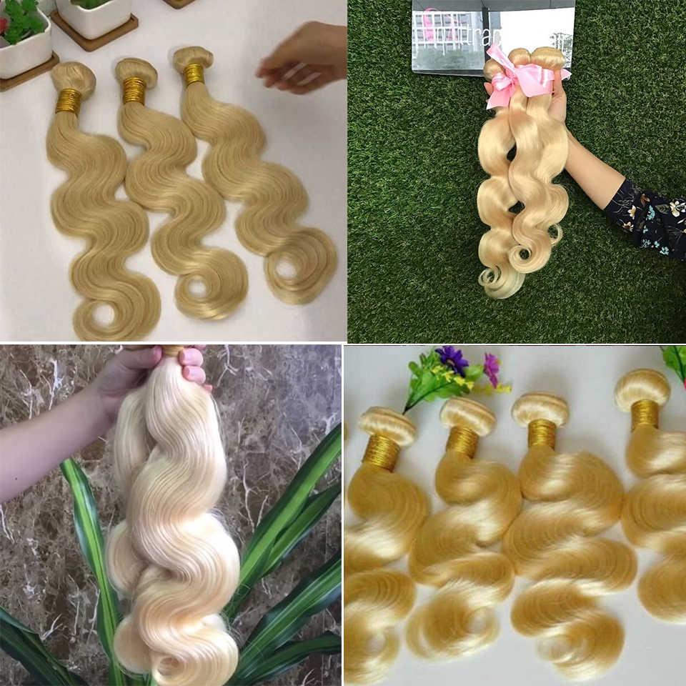 Beaufox 1/3/4 613 בלונד חבילות ברזילאי שיער Weave גוף גל חבילות 100% רמי שיער טבעי חבילות 613 הארכת שיער