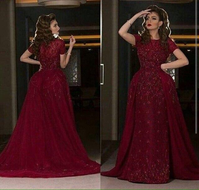 Abendkleider 2017 Dark Red Lace Short Sleeve A Line Long Evening ...