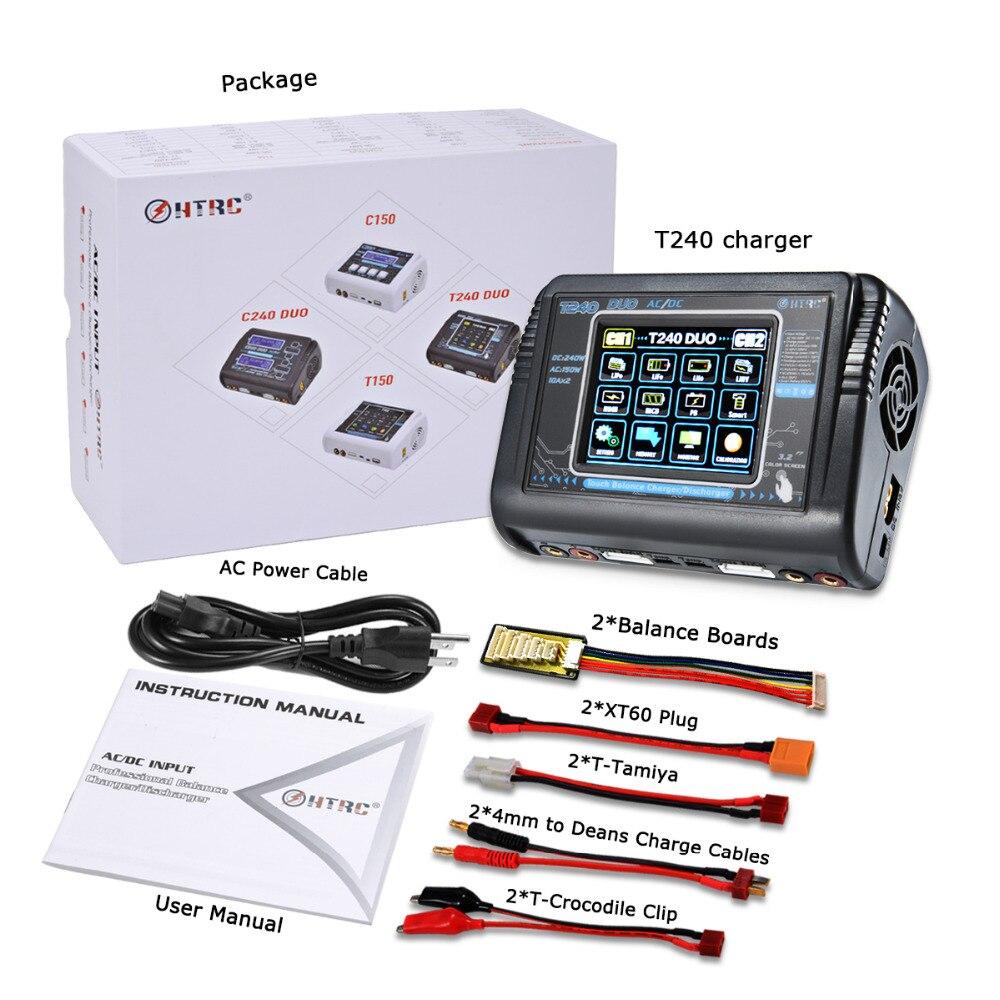 HTRC T240 DUO RC chargeur AC 150W DC 240W écran tactile double canal Balance déchargeur pour RC modèles jouets batterie Lipo - 5
