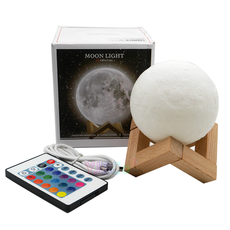 16 colors 3D Print Moon Globe Lamp Glowing Moon Lamp With Stand ,Remote,<font><b>Luna</b></font> Night Light for Home Bedroom Decor Children image