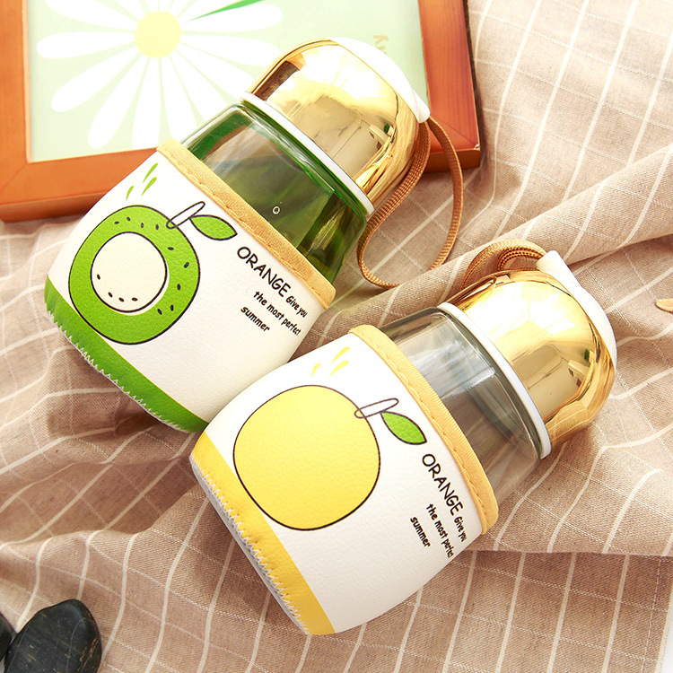 2pcs/lot Round Glass cup 450ml 2016 new my style Glass water bottle with cover creative patterns my bootl